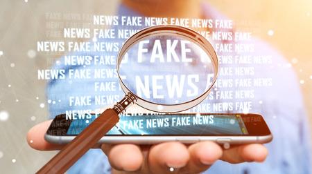 가짜 뉴스 정보를 발견하는 배경 흐리게에 사업가 3D 렌더링