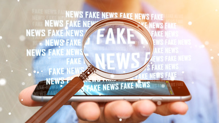 Businessman on blurred background discovering fake news information 3D rendering