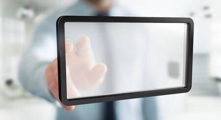 rendering: Businessman on blurred background using digital screens tablet 3D rendering Stock Photo