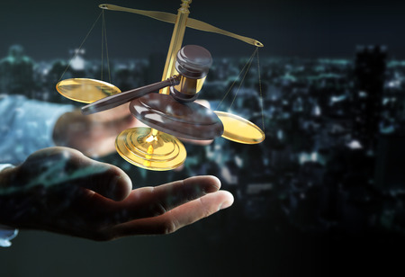 rendering: Businessman on blurred background with justice hammer and weighing scales 3D rendering