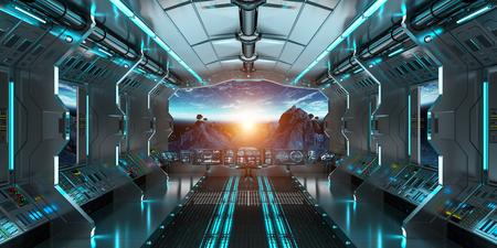 NASA から提供されたこのイメージのスペースおよび惑星の地球 3 D レンダリング要素のビューと宇宙船内部