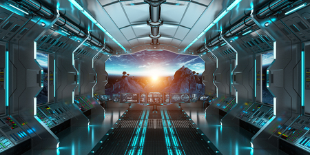 Spaceship interior with view on space and planet Earth 3D rendering elements of this image furnished by NASA 版權商用圖片 - 83390365