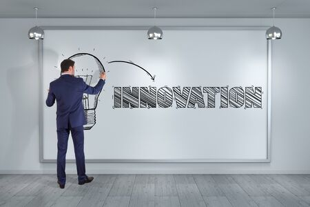 rendering: Businessman in modern interior drawing innovation sketch on a board 3D rendering