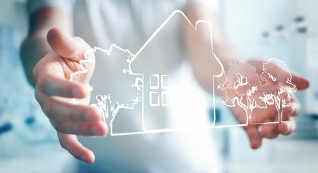 Businessman on blurred background holding manuscript real estate plan project
