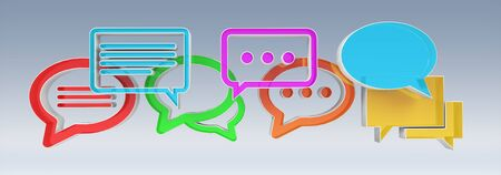 Digital colorful 3D rendering conversation icons on grey background