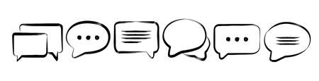 Hand-drawn discussion icons sketch on white background