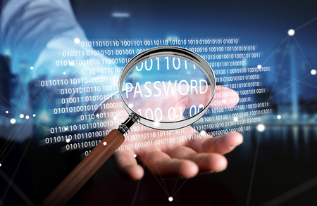 cyber defence: Hacker on blurred background using digital magnifying glass to find password 3D rendering