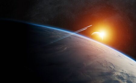 rendering: View of the planet Earth from space during a sunrise 3D rendering elements of this image furnished by NASA