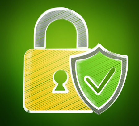 Hand-drawn antivirus system sketch on green background Stock Photo