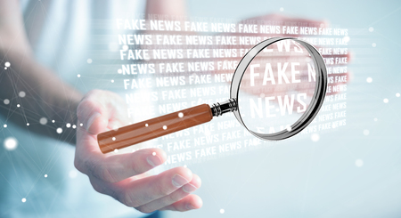 Businessman on blurred background discovering fake news information 3D rendering Stok Fotoğraf - 83657794
