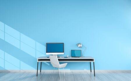 home office interior: Modern blue desktop interior with computer and devices 3D rendering