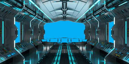 rendering: Spaceship interior with view on blue windows 3D rendering elements of this image furnished by NASA