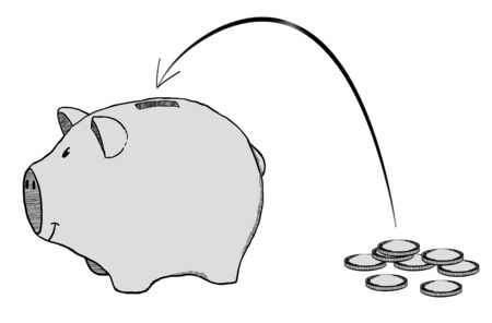 industry: Hand-drawn piggy bank with flying coins sketch on white background