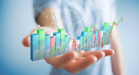 Businessman on blurred background using digital 3D rendered stock exchange stats and charts