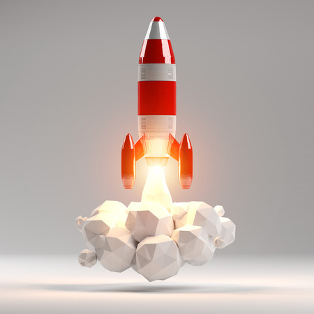 Red and white rocket launching 3D rendering on grey background
