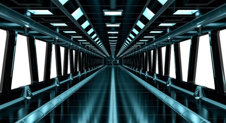 Spaceship black corridor with a long green window 3D rendering