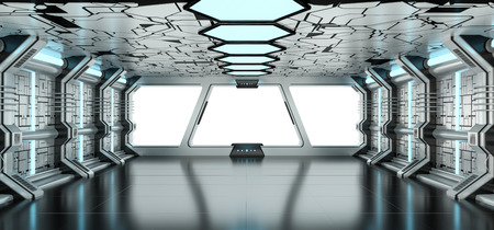 Spaceship blue and white interior with white window view 3D rendering