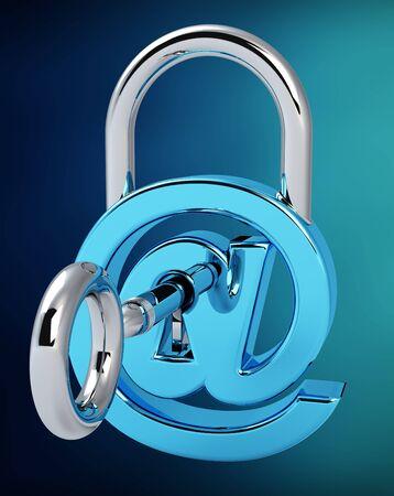 Digital arobase padlock 3D rendering on blue background Stock Photo