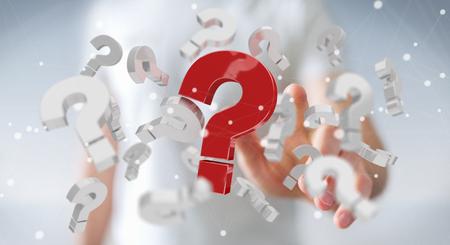 Geschäftsmann auf unscharfen Hintergrund mit 3D-Rendering Fragezeichen Standard-Bild