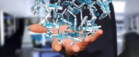 gente comunicandose: Businessman on blurred background holding 3D rendering group of blue people Foto de archivo