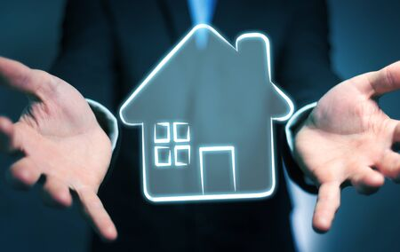 new: Businessman on blurred background holding manuscript real estate plan project