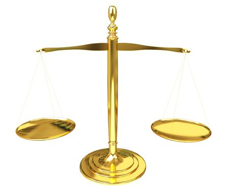 Justice weighing scales isolated on white background 3D rendering