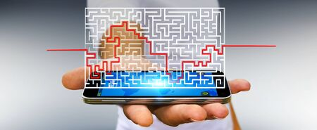 Businessman on blurred background searching solution of a complicated maze Фото со стока