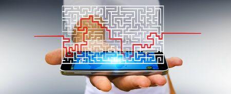homme d & # 39 ; affaires sur fond flou représentant solution d & # 39 ; un labyrinthe compliqué Banque d'images