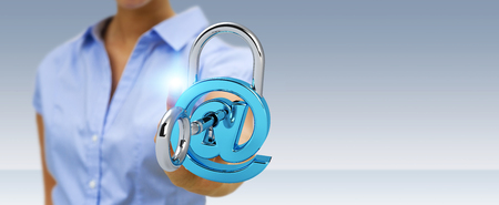 Businesswoman on blurred background using 3D rendered digital padlock to secure his internet datas