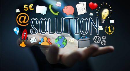 ganancias: Businessman on blurred background using hand-drawn solution presentation Foto de archivo