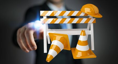 Businessman on blurred background using digital 3D rendering under construction signs