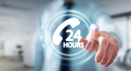 Zakenman op wazige achtergrond met behulp van hotline klantenhulp 3D-weergave