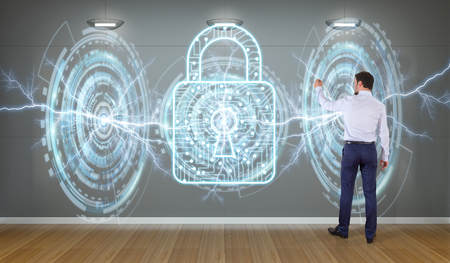 Businessman in modern interior using antivirus interface on a wall 3D rendering