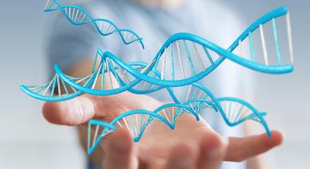 Homme d'affaires sur fond flou en utilisant le rendu 3D de la structure de l'ADN moderne Banque d'images - 85019944