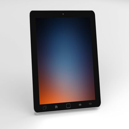 electronic background: Modern digital black tablet on white background with blue screen 3D rendering