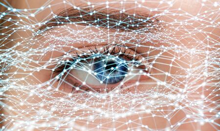 futuristic girl: Close-up of woman digital eye with dot network flying through 3D rendering Stock Photo