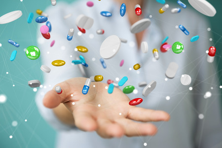 Businesswoman on blurred background holding and touching floating medicine pills 3D rendering