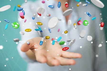 Geschäftsfrau auf unscharfen Hintergrund halten und schwimmende Medizin Pillen 3D-Rendering