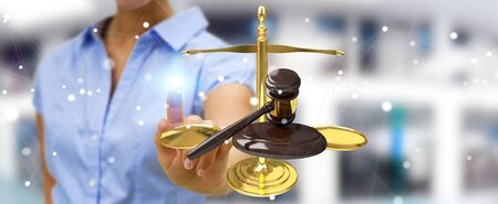 jurado: Businesswoman on blurred background with justice hammer and weighing scales 3D rendering Foto de archivo