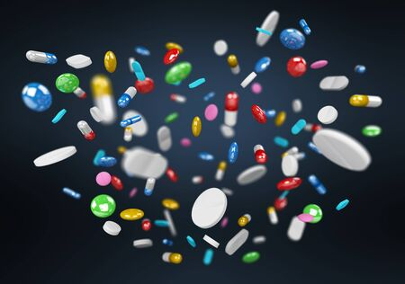 Floating medicine pills and drugs on blue background 3D rendering Stock Photo