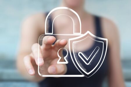 Businessman on blurred background holding and touching a hand-drawn antivirus system