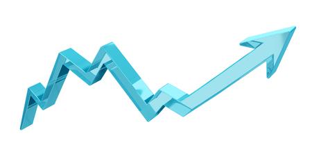 Digital modern blue arrow on white background 3D rendering Stock Photo