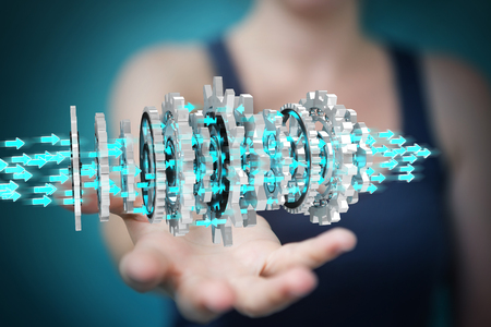 Businesswoman on blurred background using floating gear icons 3D rendering