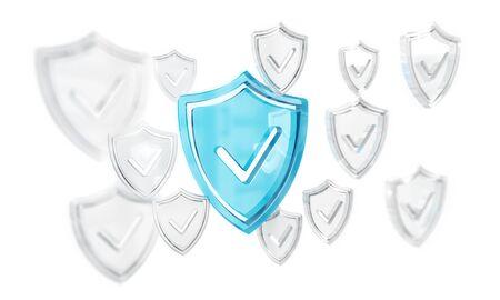 Modern digital data shield antivirus on white background 3D rendering