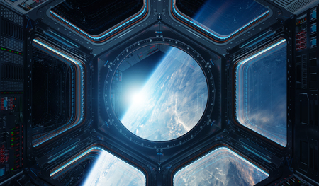 Window view of planet earth from a space station in space 3D rendering elements