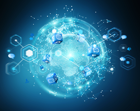 Flying earth network interface on blue background 3D rendering