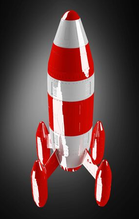 Red and white rocket launching 3D rendering on black background Stock Photo