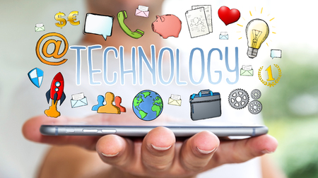 Businessman on blurred background using hand-drawn multimedia technology presentation Stockfoto