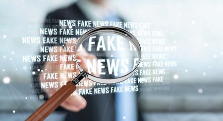 ぼやけた背景にビジネスマンは、偽のニュース情報3D レンダリングを発見