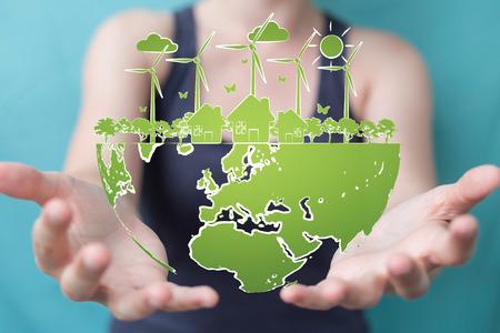 Imprenditrice su sfondo sfocato toccando e tenendo energia dello schizzo energetico